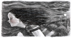השועל שלימד אותי לרוץ 2 (Maayan Galili) Tags: pencil drawing illustration running moon dark black white people hair forest night rain