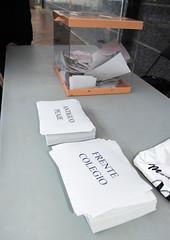 La urna y las diferentes opciones disponibles en la consulta para decidir la ubicación del nuevo aseo público.