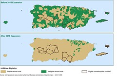Figure 1: Historically Underutilized Business Zone (HUBZone) Areas in Puerto Rico, Before and After June 2016 Change to Definition of Qualified Census Tracts (U.S. GAO) Tags: gao governmentaccountabilityoffice usgovernmentaccountabilityoffice usgao unitedstatesgovernmentaccountabilityoffice government congress watchdog oversight governmentwatchdog gao18666 smallbusinesscontracting hubzone historicallyunderutilizedbusinesszone naics northamericanindustryclassificationsystem oig officeofinspectorgeneral pcr procurementcenterrepresentative promesa puertoricooversightmanagementandeconomicstabilityact sba smallbusinessadministration