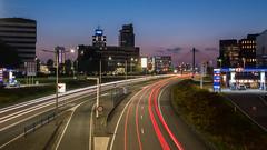 Rivium Rotterdam (Michiel Pols) Tags: rotterdam night long exposure roads road car cars traffic support highway bridge lights light trail before dark