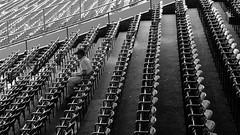 Early bird at Fenway Park (Jon Bush) Tags: diehard sport sportsfan redsox baseball anticipation stadium empty alone solitude tense boston abstract rows fenwaypark blackandwhite