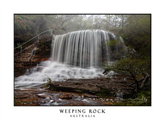 Scenic views of the Misty Weeping Rock at Wentworth Falls (sugarbellaleah) Tags: scenery tranquil waterfall fall water misty foggy bluemountains australia bushland wilderness steps bushwalk scenic picturesque trees rock longexposure wet rainy wentworthfalls awesome weepingrock green lush beautiful travel tourism mountains stream creek leisure recreation hike traveldestination