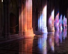 Light Into Shadows (John C. House) Tags: everydaymiracles nik nationalcathedral stainedglass nikon church johnchouse shadows reflections columns d810 washingtondc afternoon
