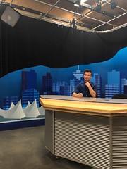 At the Desk in the BCIT Newsroom (graysonrudzki) Tags: bcit bcitjournalism2019 broadcasting announcing news bcitbroadcasting student newsroom