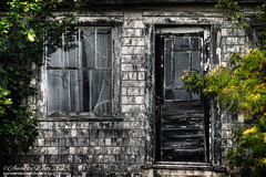 Welcome! (sminky_pinky100 (In and Out)) Tags: abandoned abandonedhouse newbrunswick decay decaying rural ruraldecay travel tourism door window oldhome old maritimeprovinces atlanticprovinces atlanticcanada outside textures woodenshingles wood omot cans2s