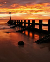 Stay Free (PeskyMesky) Tags: aberdeen aberdeenbeach longexposure scotland beach water sunrise sunset red sky canon canon6d eos portrait