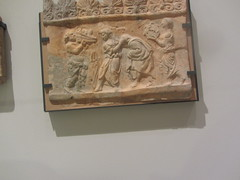 Sculpted panel, CaixaForum, Madrid (d.kevan) Tags: exhibitions caixaforum ancientinstruments displaycabinets june2018 madrid spain exhibits figures metal