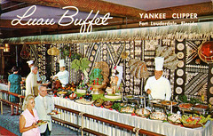 Luau Buffet (1967) (Brett Streutker) Tags: restaurant cafe diner eatery food hamburger cheeseburger eat fast macdonalds burger vintage colonel sanders kentucky fried chicken big mac boy french fries pizza ice cream server tip money cash out dining cafeteria court table coffee tea serving steak shake malt pork fresh served desert pie cake spoon fork plate cup drive through car stand hot dog mustard ketchup mayo bun bread counter soda jerk owner dine carry deliver