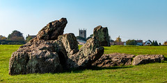 Stanton Drew Stone Circle (Keith in Exeter) Tags: stantondrew stonecircle standingstone ancient neolithic archaeology rock stone field grass sky english heritage panorama landscape church tower building somerset england uk