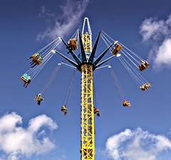 SwingOut (Tony Worrall) Tags: swing fun funfair swinging swingers high fast fair blue bluesky highup spin spinning ride fastride round amusement amusementpark southport merseyside structure machine metal weather buy sell sale bought stock item north northern northwest faster shout kids children entertainment entertain top happy ticket english uk british holiday tourist