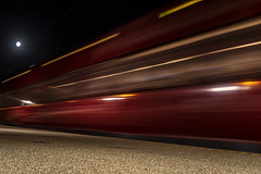 (¤ Chris ¤) Tags: train fast platform longexposure evening moon commute lights stog red