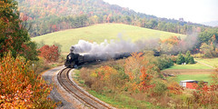 734 Eastbound On Helmstedder's Curve (DJ Witty) Tags: nikon film photography railroad rr passengertrain westernmarylandrailway westernmarylandscenic steamlocomotive baldwin 280 maryland usa