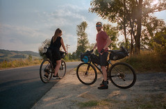 Kasia and Maciek, somewhere in the Lower Silesia. (wojszyca) Tags: fuji tiara zoom dl 35mm compact agfa ultra 100 cycling bikepacking bicycle touring portrait friends cyclist landscape goldenhour outdoors adventure