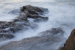 Rocks and Waves: Ocean Beach, San Diego, CA (Photos By Clark) Tags: california cities subjects location beachshots canon2470 unitedstates northamerica sandiego canon5div locale places where us pacific beach rocks waves water wind longexposure lightroom thesandiegoist bluehour night jagged sharp spray mist