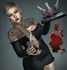 Bloody Mary Anyone !?? (Sparkle Mocha) Tags: bloodymarydrink chicchica iconic braid seul blackdress carol g embroided pyramid ear swallow salem event tattoo tatto tat halloween blood fall spooky avatar mesh hairfair secondlife sl slhair slfashion firestorm