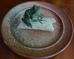 Frog on a Burrito (ricko) Tags: plate frog bronze burrito food