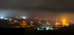 """Misty Night in my Hometown"" (helmet13) Tags: d800e raw nocturne night nightshot fog mist cityscape citylights silence ulm germany longexposure colors street bridge panorama aoi peaceaward world100f flickrheroes"