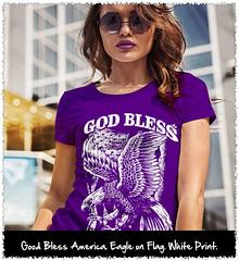 God Bless America. Eagle on Flag. White Print. Women's: Gildan Ladies' 100% Cotton T-Shirt. Purple.  | Loyal Nine Apparel (LoyalNineApparel) Tags: 2a conservative constitution cute donttreadonme girlswithguns godblessamerica gungirl instagood libertarians livefreeordie loyalnineapparel loyalnineclothes molonlabe ootd patriot patriotic patrioticwomen pewpew teaparty teapartyrepublican tee teeshirt threeper threepercent wethepeople womensfashion womensshirt womenstee womenwhoshoot