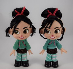 2012 vs 2018 Vanellope Talking Doll - Disney Store Purchases - Deboxed - Free Standing Side By Side - Front View (drj1828) Tags: wreckitralph2 ralphbreakstheinternet 2018 merchandise disneystore purchase productinformation vanellopevonschweetz talking doll actionfigure 2012 comparison