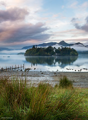 Derwent isle on a calm misty morning (He Ro.) Tags: england herbst keswicklandingstage lakedistrict uk autumn morningmist derwentwater lake district np serene calm misty mist sunrise water landscape gras see wasser