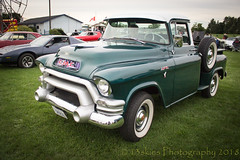 On a Saturday Night (HTT) (13skies (Cast off, brace on. Healed but still sore) Tags: singleshothdr truck gmc carshow saturday evening summer pride hot oldie older vintage antique sweet cool wheels grill green truckthursday happytruckthursday htt