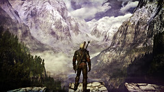 The Witcher 3 Wild Hunt - View from Kaer Morhen (Ladmilla) Tags: thewitcher3wildhunt thewitcher3 wildhunt landscape mountains rockes trees lake pond game videogame sky forest wood clouds