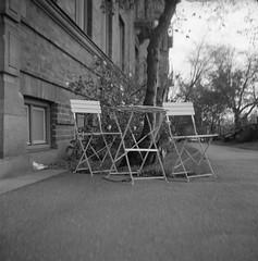 seats (rotabaga) Tags: sweden sverige svartvitt göteborg gothenburg blackandwhite bw bwfp lomo lomography lubitel166 ilford 120 6x6 mediumformat mellanformat twinlens