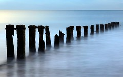 Dancing in the shadows (PeskyMesky) Tags: aberdeen aberdeenbeach longexposure water seadefence scotland landscape blue canon canon6d eos