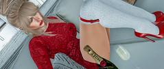 Dorothy Had Her Red Slippers &  I Have Mine ! (Sparkle Mocha) Tags: {limerence} joel hair kinky event narcisse raquel seqin dress fameshed eudora3d janepumps socks ladyinred cocktail updo blonde blond spikeheels kneesocks champane mesh avatar secondlife firestorm blogger bloging blog sofa pillow ha