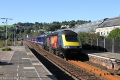 Harry in the sun at Lostwithiel (Kernow Rail Phots) Tags: kernow cornwall 43172 harrypatch harrypatchthelastsurvivorofthetrenches 43189 gwr hst greatwestern 1a82 0900 penzance paddington iets wednesday 26th september 2018 train trains railway railways railroad blue sky trees signals station sunny class43