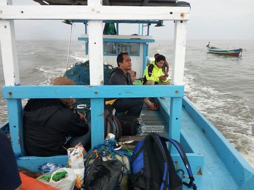 Heading to Gosong Beras Basah by Boat