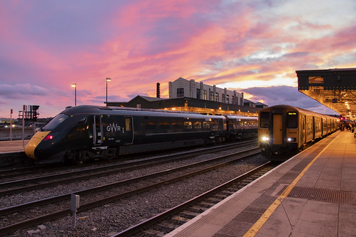 Trains at sunset