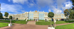 Catherine Palace: South side, view from the garden (+1) (peggyhr) Tags: peggyhr catherinepalace southview img7366a stpetersburg russia tsarskoyeselopushkin benches trees garden clouds blue white gold sunny shadows iphone panorama thegalaxy thegalaxystars frameit~level01~ infinitexposurel1 thelooklevel1red heartawards thelooklevel2yellow thegalaxylevel2 thegalaxyhalloffame thelooklevel3orange thelooklevel4purple