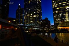 Chicago Riverwalk (mariola aga) Tags: chicago downtown chicagoriver river riverwalk buildings architecture skyscrapers evening bluehour lights citylights bridge train night