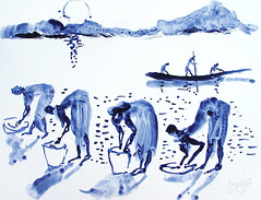 AFRICA TO THE NAKED oxid 191 (eduard muntada) Tags: africa to the naked 191 watercolor river boat sun light africanpeople purple mountains survive