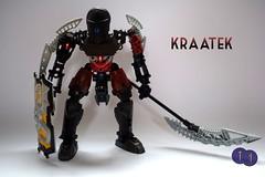 Toa Kraatek (Harding Co.) Tags: lego bionicle figure toa shadow darkness dark black red mask silver yellow kanohi ruru weapon staff scythe