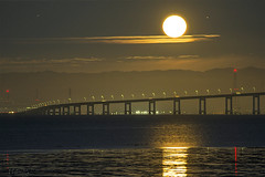 Full Moon Lit Up the San Francisco Bay (milton sun) Tags: fullmoon sanfranciscobay coyotepointpark burlingame northerncalifornia bridge moonlight seascape bay ngc bayarea wave ocean shore seaside coast evening sanmateocounty nightphotography nightscene moonrise moonset westcoast landscape outdoor clouds sky water