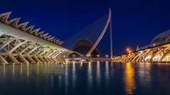 Longex of the Arts and Science building and Oceanograpics (Bart Ros) Tags: bridge water lights reflection night nightlife longex arts science museum blue valencia spain