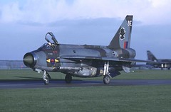 """11 Squadron BAC Lightning F.6 XR763 """"Echo"""" returns to the Binbrook flightline past Crash Gate 3, having completed an early morning pairs exercise, February 1981 (stcaamekid) Tags: binbrook lightning f6 englishelectric rafbinbrook crashgate3 11squadron bac redtopmissile lincolnshire coldwar runway03 lincolnshirewolds 1981 be xr763"""