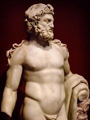 Herakles (Hercules) Roman 100-200 CE Marble with traces of pigment (mharrsch) Tags: herakles hercules demigod hero sculpture statue roman 2ndcenturyce ancient gettyvilla malibu california mharrsch nemeanlion