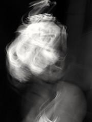 Iluminated woman (marisabosqued) Tags: icm movimientointencionadodelacámara rosariodecristal bn bw fiestasdelpilar2018 zaragoza españa spain nocturna night monocromo monochrome snapseed