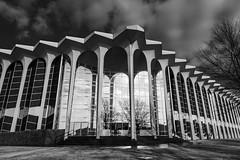 bent perspective (fallsroad) Tags: oru oralrobertsuniversity campus school architecture building columns arches windows reflection blackandwhite bw monochrome goldenhour