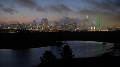 Dallas In Clouds (Gene Ellison) Tags: city dallas texas dawn fog clouds lights water lake trees reflection