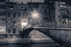 Girona a mitjanit (jepiswell) Tags: nightscape night girona onyar bridge nocturna blackandwhite