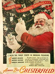 Decorate Your Christmas Tree with Cigarettes! (saltycotton) Tags: holidays christmas santaclaus santa christmastree cigarettes smoking chesterfield theamericanlegionmagazine vintage magazine advertisement ad 1945 1940s