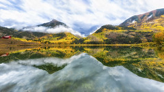 aspen colorado - fall, autumn, leaves, colors, lake, reflection (Dan Anderson.) Tags: aspen colorado co fall autumn colors rainy weather clouds cloudy marble lake beaverlake reflection reflections mirror calm still smooth water mountains trees leaves sky blue red gold picturesque landscape pano panorama natureinfocusgroup