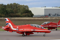 The Red Arrows at Cambridge Airport (robertetienne) Tags: raf royalairforce raf100 redarrows cambridgeairport baesystems hawk aircraft airplanes jets military aviation displayteams xx219