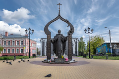 Monument to St. Sergey Radonezhsky. (Oleg.A) Tags: ancient square sunny building nizhnynovgorod church street sky monument city outdoor churchoftheascension midday town art sculpture exterior blue colorful design cathedral old shadow orthodox architecture style cross 1september autumn russia white catedral knowledgeday noon outdoors nizhnynovgorodoblast ru