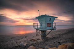 Tower 2 (David Colombo Photography) Tags: pacific ocean sandiego california beach lifeguardtower lifeguard tower sand clouds sea seascape landscape color vibrant sunset rocks outdoor coast longexposure