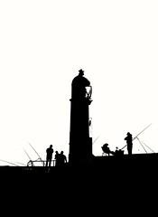 Porthcawl Angling scene (Andy J Newman) Tags: convention d500 elvis elvisconvention nikon porthcawl silhouette fisherman anglers shadow